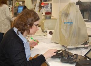 Clare Ward studerer et par sandaler