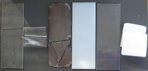 Vores seks plast prøver efter rensning; PMMA, PVC, polyester, polyetylen, polystyren og polystyrenskum