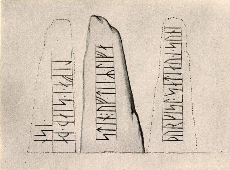 Søren Abildgårds tegning fra 1767, hvor runestenen er intakt, og hele teksten kan læses.