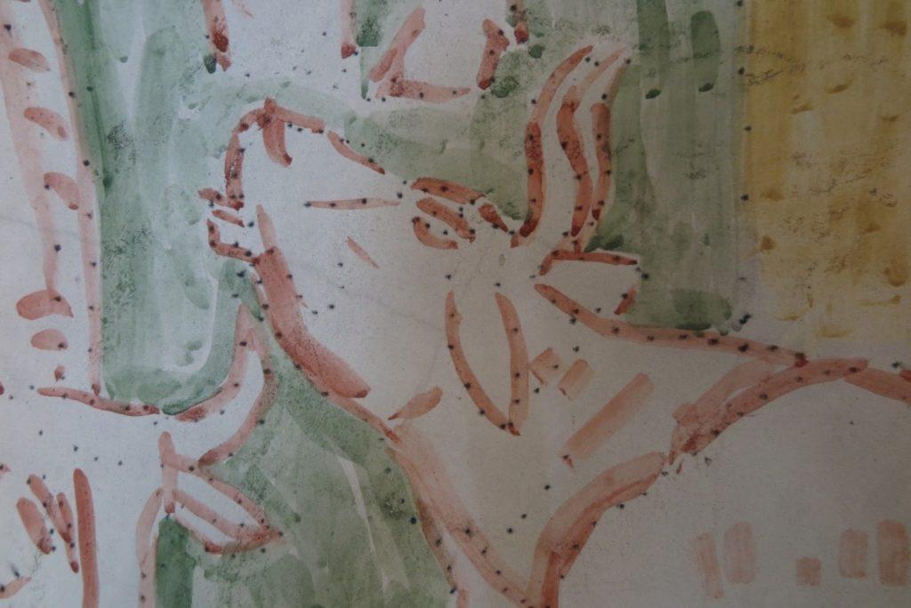 Motiv fra nordre sideskibs 3. fag. De sorte prikker er ikke skader, men såkaldte punceringer/punceprikker, som er kulstøv påført gennem huller i fortegning, som støttepunkter for optegning af motivet.