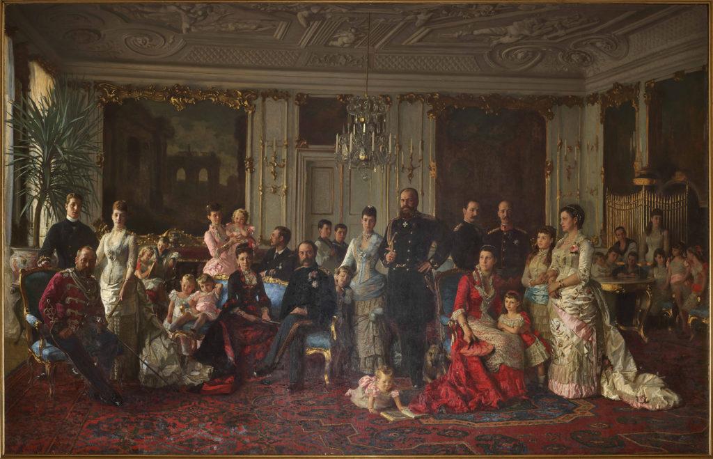 Den Glücksborgske kongefamilie malet af Laurits Tuxen i 1886 før konservering. Foto: Nationalmuseet, roberto Fortuna
