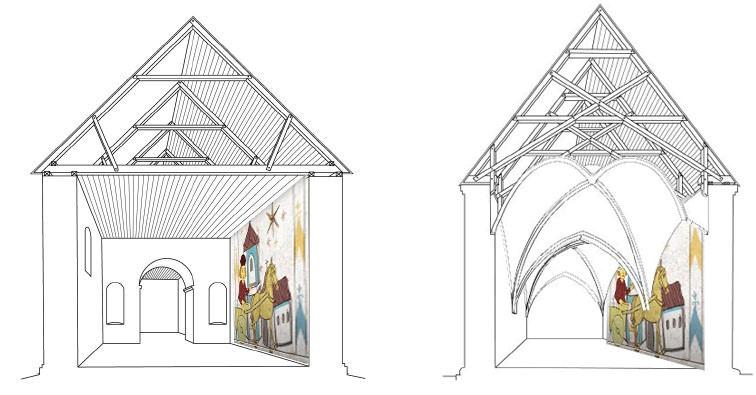 Vejlby Kirke uden og med hvælv. Illustrationerne er lavet af Anna K. Hansen, Nationalmuseet. Det formodes at Vejlby Kirke fik hvælvinger mellem år 1250-1500 .