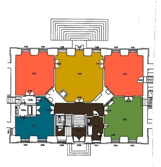 Den farvearkæologiske undersøgelse viste, at træværket i stueetagens rum oprindeligt var farvesat efter en nøje udtænkt plan