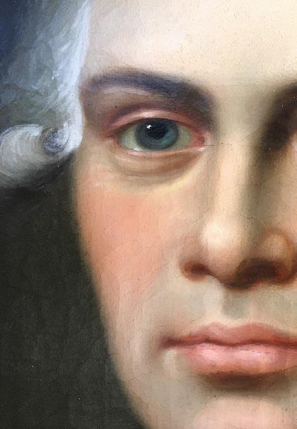 Detalje af Portræt af Jens Bruun Neergaard. Maleriet blev renset for gulnet og dekomponeret fernis, og her er et eksempel på før og efter rensning. Foto: Nationalmuseet, Mikala Bagge