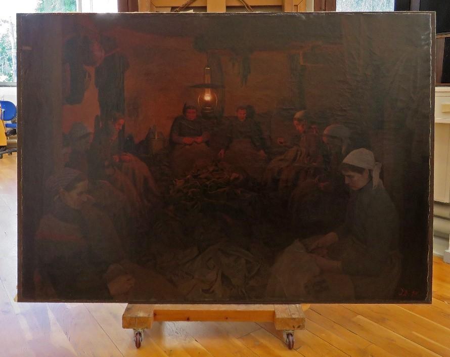'Sækkelappersker' før konservering på maleriværkstedet i Brede.